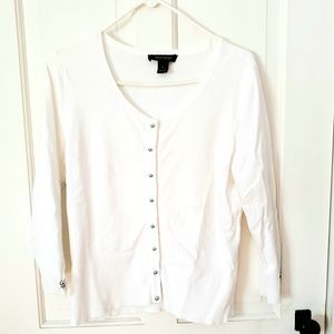 WHBM Cardigan Sweater White w/Silver Buttons